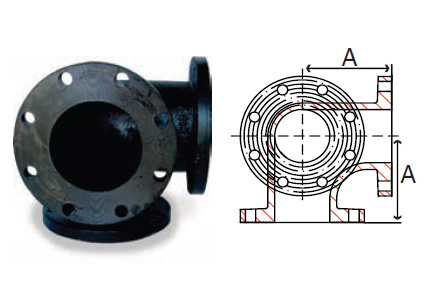 Part # P3238OE1060D, 90° Side Outlet Elbow Flanged Fittings, 125# Cast Iron  & 150# Ductile Iron