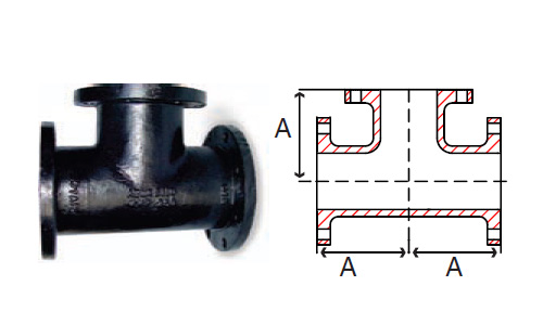 Tee flanged fittings cast iron ductile