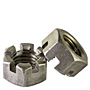 Slotted Hex Nuts, National Coarse & Fine, Plain Steel